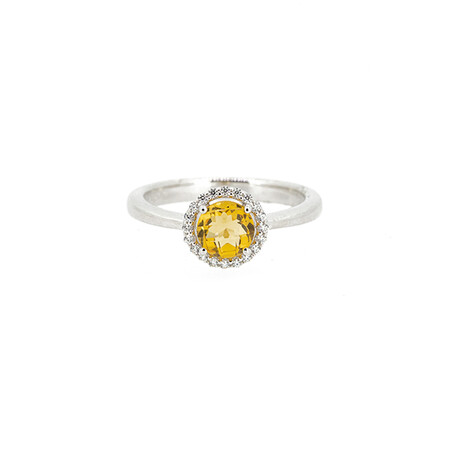 Halo Ring with Created Citrine and Cubic Zirconia in Sterling Silver