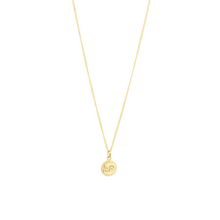 Pisces Zodiac Pendant in 10ct yellow Gold
