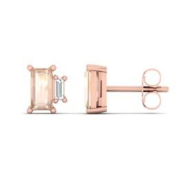Stud Earrings with Diamond & Natural Morganite in 10ct Rose Gold