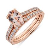 Bridal Set with 0.69 Carat TW of Diamonds & Morganite in 14ct Rose Gold