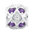 Purple & White Cubic Zirconia & Sterling Silver Charm