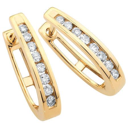 Hoop Earrings with 1/4 Carat TW of Diamonds in 10ct Yellow Gold
