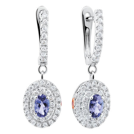 Michael Hill Designer Fashion Earrings with Tanzanite & 0.38 Carat TW of Diamonds in 10ct White Gold