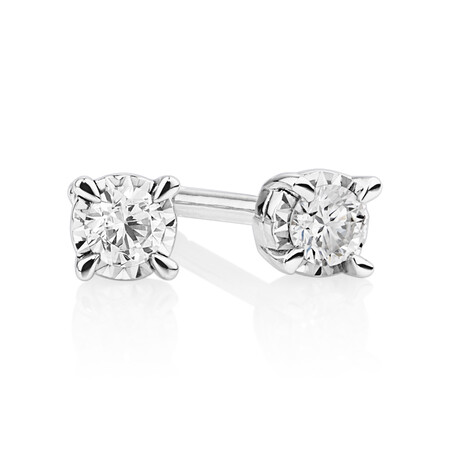 Stud Earrings with 0.10 Carat TW of Diamonds in 10ct White Gold