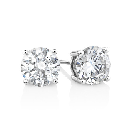 Laboratory-Created 4.00 Carat Stud Earrings in 14ct White Gold