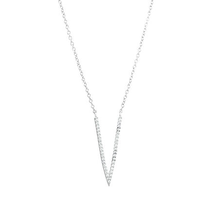 V Necklace with Cubic Zirconia in Sterling Silver