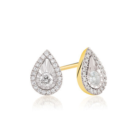 Pear Earrings With 0.23 Carat TW Of Diamonds In 10ct Yellow Gold