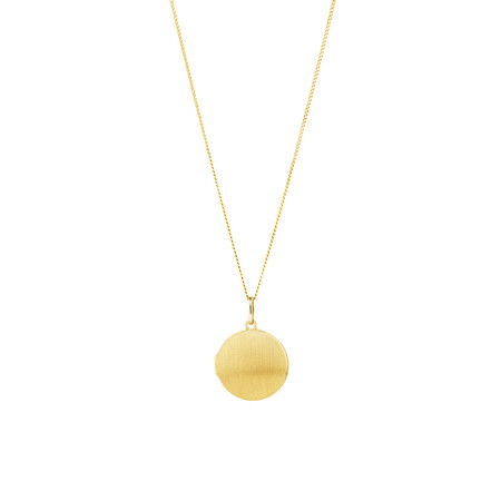 Brushed Round Locket Pendant in 10ct Yellow Gold