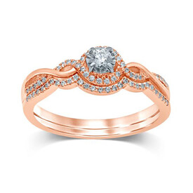 Bridal Set with 0.25 Carat TW of Diamonds in 10ct Rose & White Gold