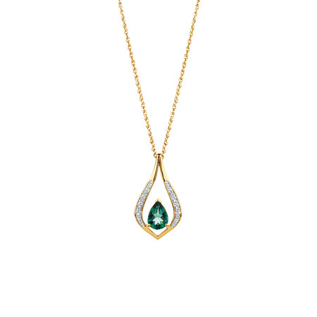 Created Emerald & Diamond Pendant in 10ct Yellow Gold