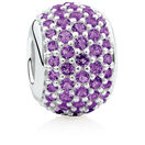 Pave Set Charm with Purple Crystal in Sterling Silver