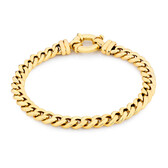 Diamond Set Double Curb Bracelet in 10ct Yellow Gold
