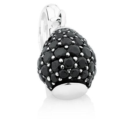 Black Cubic Zirconia & Sterling Silver Wild Hearts Dangle Charm