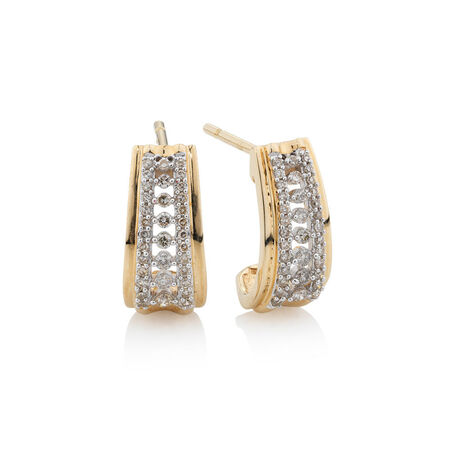 Online Exclusive - Earrings with 0.3 Carat TW of Diamonds in 10ct Yellow Gold