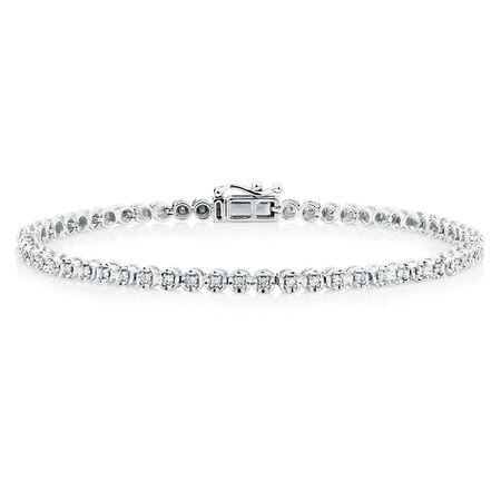 Tennis Bracelet with 1.45 Carat TW of Diamonds in 14ct White Gold