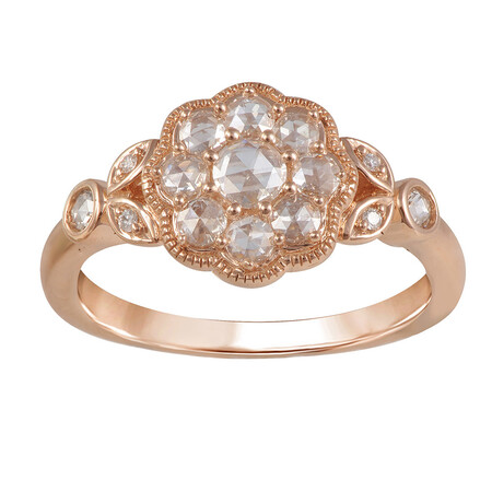 Flower Ring with 0.40 Carat TW of Diamonds in 10ct Rose Gold