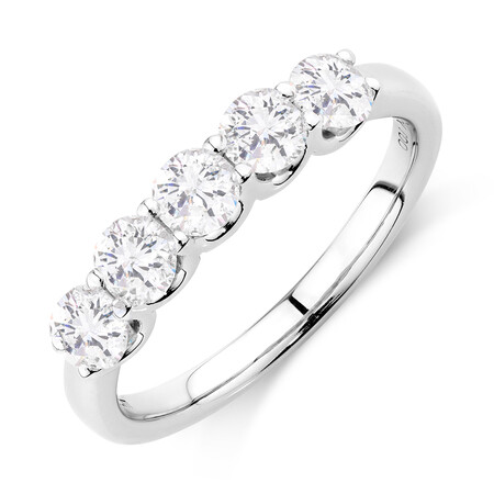 Five Stone Ring with 1 Carat TW of Diamonds in 10ct White Gold