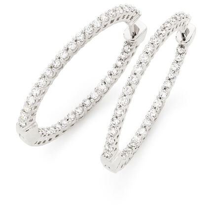 Hoop Earrings with 1 Carat TW of Diamonds in 18ct White Gold