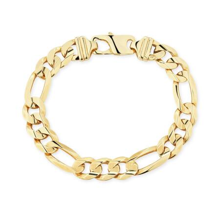 "23cm (9.5"") Figaro Bracelet in 10ct Yellow Gold"