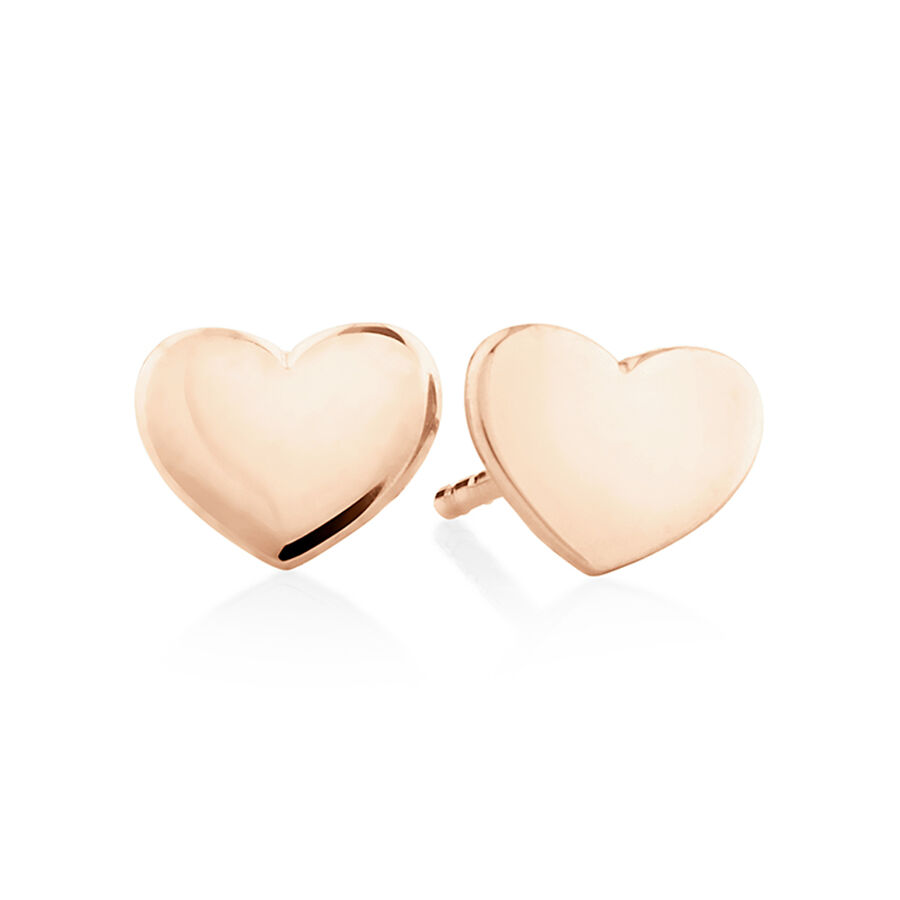 Polished Heart Stud Earrings In 10ct Rose Gold