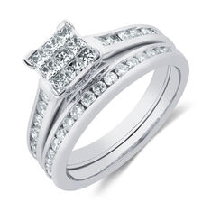 Bridal Set with 0.50 Carat TW of Diamonds in 10ct White Gold