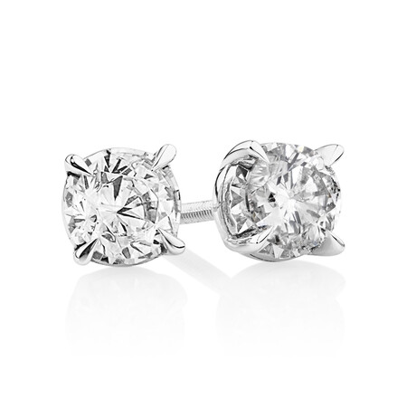 Stud Earrings with 0.80 Carat TW of Diamonds in 10ct White Gold