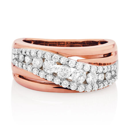 Ring with 1 Carat of Diamonds in 10ct White & Rose Gold