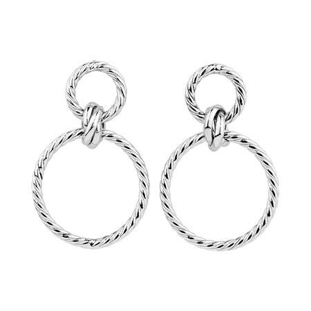 Twisted Drop Earrings in 10ct White Gold