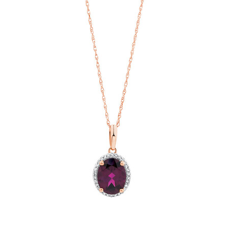 Pendant with Rhodolite Garnet and Diamonds in 10ct Rose Gold