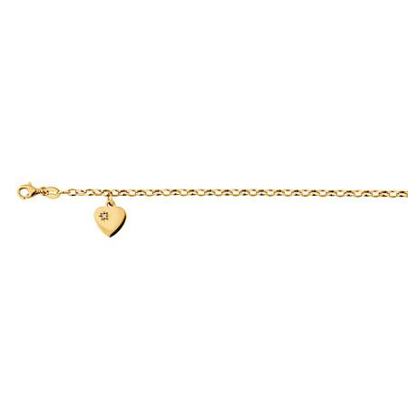 "17cm (6.5"") Diamond Set Belcher Bracelet in 10ct Yellow Gold"