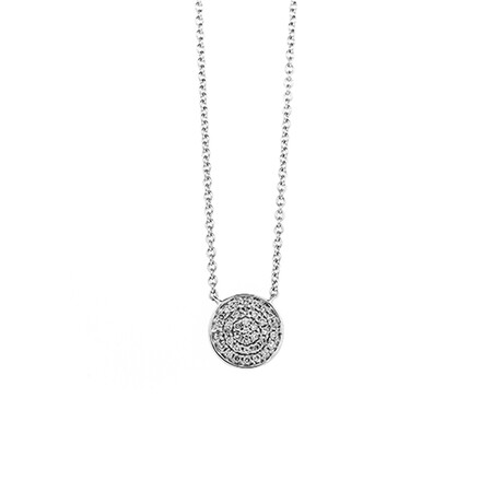 Circle Pendant with 0.15 Carat TW of Diamonds in 10ct White Gold