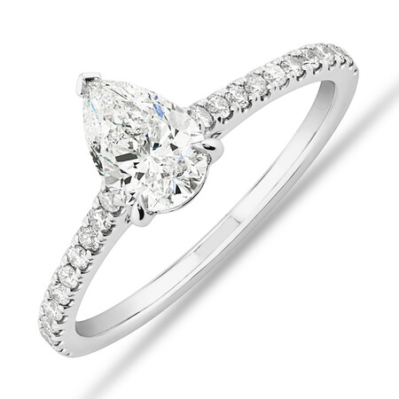 Pear Solitaire Engagement Ring with 1.12ct TW of Diamonds in 14ct White Gold