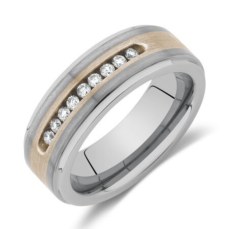 Men's Ring with 0.27 Carat TW of Diamonds in Grey Tungsten & Sterling Silver