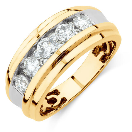 Men's Ring with 1 1/4 Carat TW of Diamonds in 14ct Yellow Gold