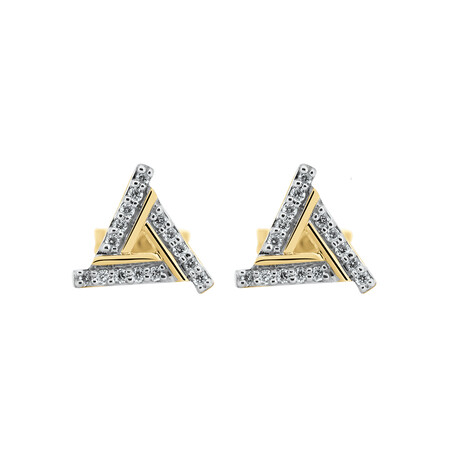 Triangle Stud Earrings with Diamonds in 10ct Yellow & White Gold