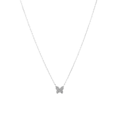 Butterfly Necklace with Diamonds in Sterling Silver