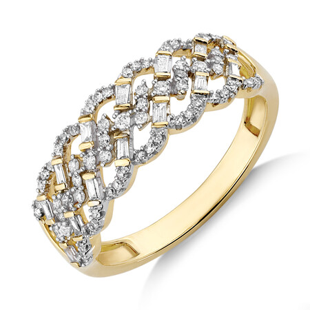 Ring with 0.35 Carat TW of Diamonds in 10ct Yellow Gold