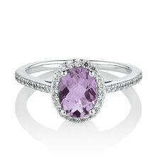 Halo Ring with Created Amethyst & Cubic Zirconia in Sterling Silver