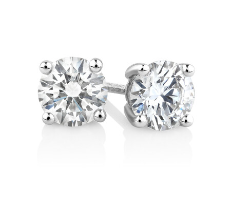 Laboratory-Created 1 Carat Stud Earrings in 14ct White Gold