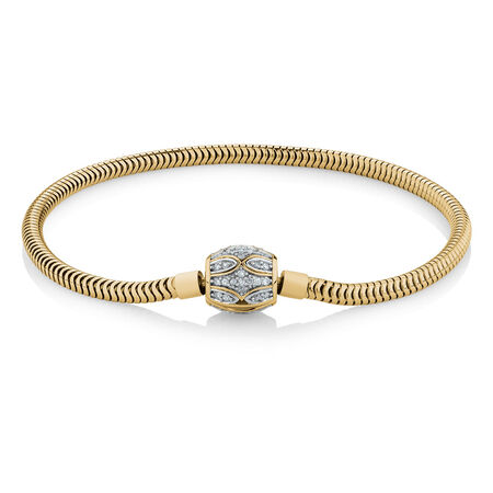 "21cm (8.5"") Charm Bracelet with 1/4 Carat TW of Diamonds in 10ct Yellow Gold"
