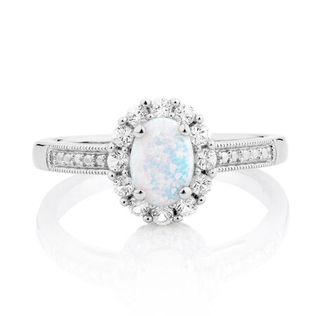 Ring with Created Opal & Created white Sapphires in Sterling Silver