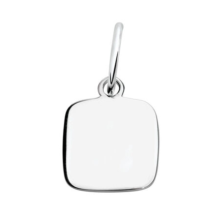 Engravable Square Pendant in Sterling Silver