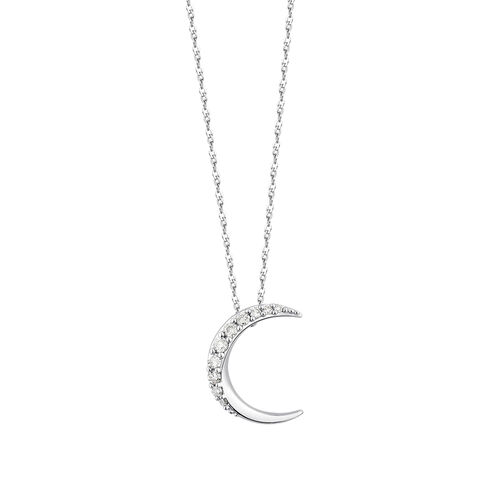 Moon Pendant With Diamonds In 10ct White Gold