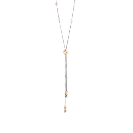 Adjustable Beaded Necklace in 10ct White, Yellow & Rose Gold