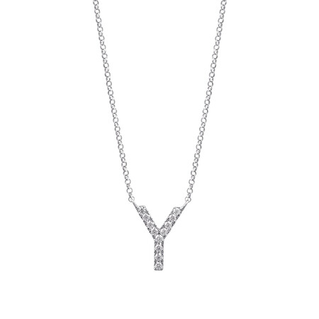 """""""Y"""" Initial necklace with 0.10 Carat TW of Diamonds in 10ct White Gold"""