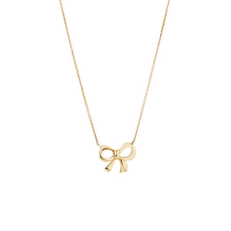 Ribbon Bow Necklace in 10ct Yellow Gold