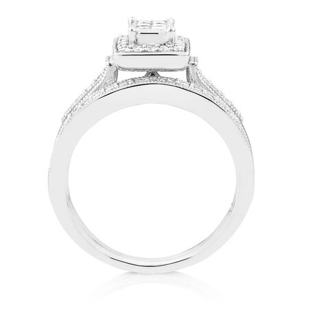 Bridal Set with 0.45 Carat TW of Diamonds in 10ct White Gold