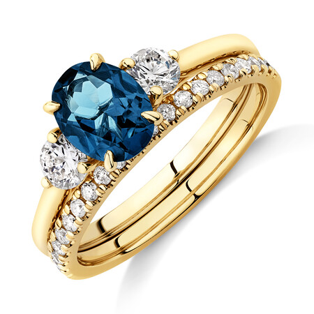 Bridal Set with Topaz & 0.60 Carat TW of Diamonds in 14ct Yellow Gold