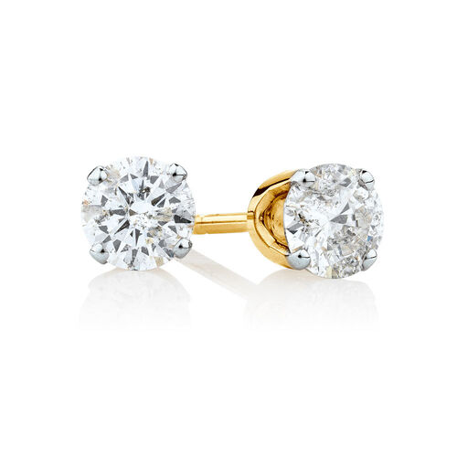 Solitaire Stud Earrings with 1/2 Carat TW of Diamonds in 10ct Yellow Gold