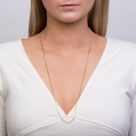 """70cm (28"""") Hollow Figaro Chain in 10ct Yellow Gold"""